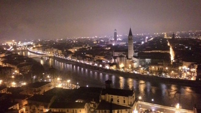 verona italy at night
