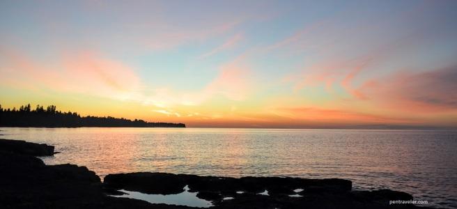 Sunrise on the North Shore of Lake Superior, Minnesota.