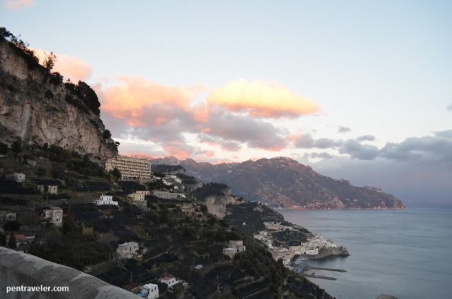 Amalfi view at sunset